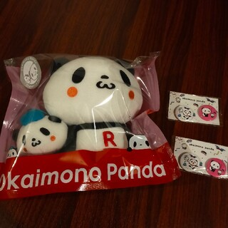 ラクテン(Rakuten)のお買い物パンダ ぬいぐるみ&缶バッチ2セット(ぬいぐるみ)