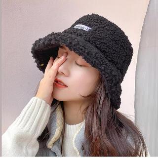 ブラック ボア バケットハット 韓国 もこもこ 秋冬おしゃれ 帽子