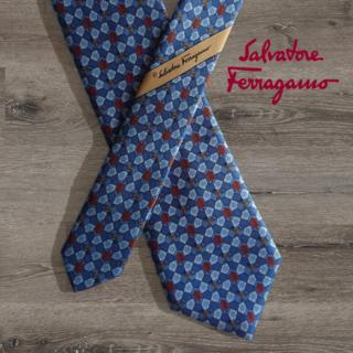 Ferragamo - Salvatore Ferragamo ネクタイ ブルー トナカイ柄