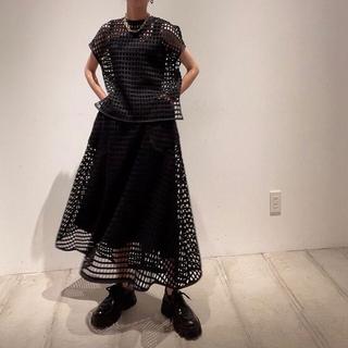 LE CIEL BLEU - Mesh Lace Flare Skirt