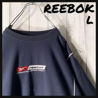 リーボック(Reebok)の【海外企画 L】リーボック ベクター 刺繍ロゴ パイピング スウェット 紺 白(スウェット)