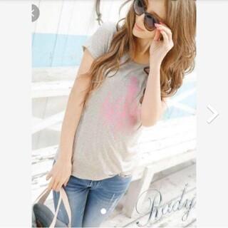 レディー(Rady)のRady シャーリングフロッキーTシャツ(グレー)(Tシャツ/カットソー(半袖/袖なし))