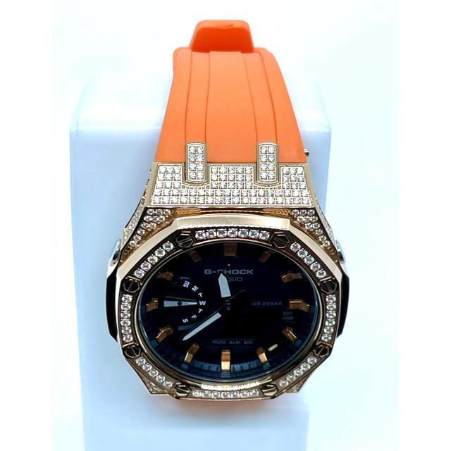 G-SHOCK(ジーショック)のG-Shock GA-2100 3rd フルジルコニア ローズゴールド&オレンジ メンズの時計(腕時計(アナログ))の商品写真