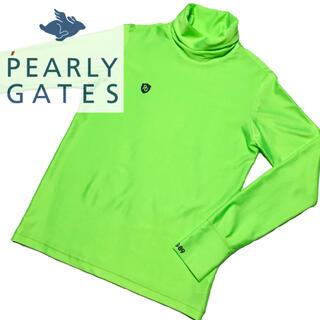 PEARLY GATES - 美品 PEARLYGATES タートルネック 長袖 ロング Tシャツ グリーン