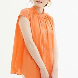 ジーユー(GU)のオレンジ ジーユー gu 半袖 綿100 コットン ボリュームギャザーブラウス(シャツ/ブラウス(半袖/袖なし))