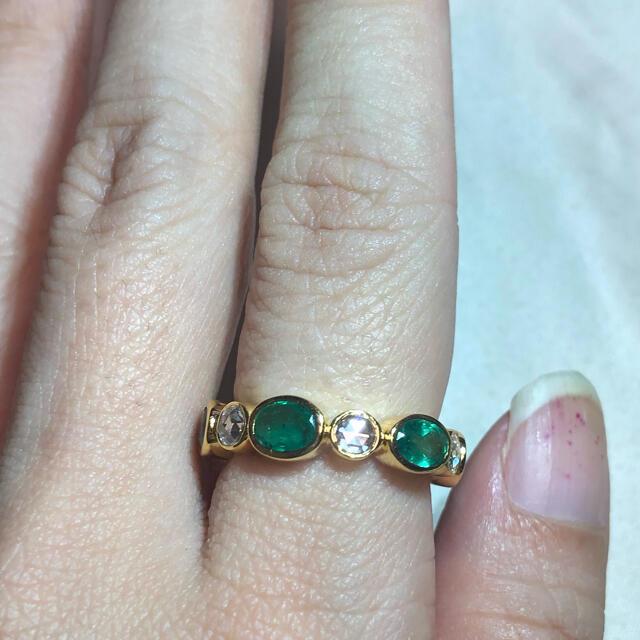 🌸大粒🌸エメラルド ダイヤモンドローズカットフルエタリング インドジュエリー レディースのアクセサリー(リング(指輪))の商品写真
