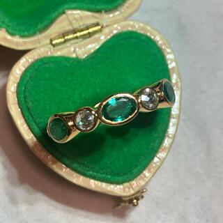 🌸大粒🌸エメラルド ダイヤモンドローズカットフルエタリング インドジュエリー