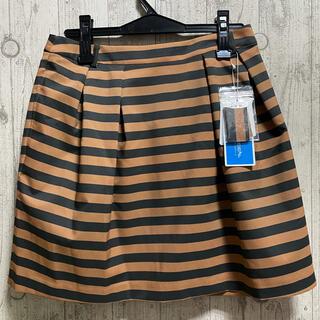ランバン(LANVIN)のランバン 3万円 ゴルフスカート  ふんわり ボーダー ベージュ 黒 バイカラー(ウエア)