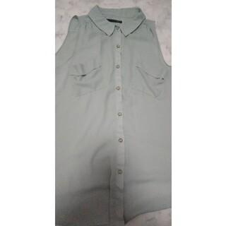 ヘザー(heather)のheather ノースリーブシャツ ミントグリーン(シャツ/ブラウス(半袖/袖なし))