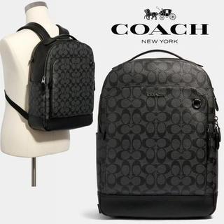 COACH - 正規店購入 コーチ シグネチャー黒 レザー リュック バックパック 新品