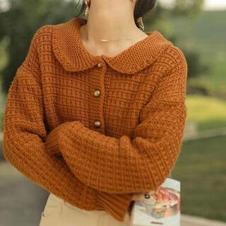 dholic - 新作【韓国ファッション】カーディガン 襟 ニット パンプキンカラー オレンジ
