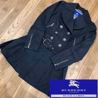 バーバリーブルーレーベル(BURBERRY BLUE LABEL)のバーバリーブルーレーベル ベルト付 プリーツ トレンチコート ノバチェック(トレンチコート)