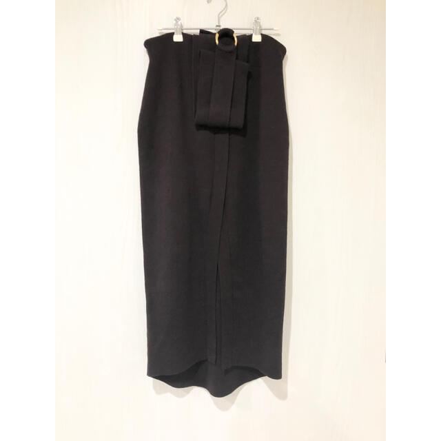Noble(ノーブル)の未使用タグ付き【STAIR】ベルト付き スリット ニット ロングスカート レディースのスカート(ロングスカート)の商品写真