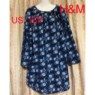 エイチアンドエム(H&M)のH&M 花柄ワンピース  チュニック ネイビー US16P(ひざ丈ワンピース)