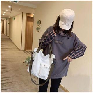 【多機能バッグ★】2way トートバッグ ショルダーバッグ 手提げバッグ 白