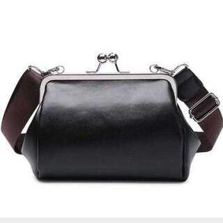 【ブラック】ショルダーバッグ ポシェット 斜めがけバッグ レデース がま口バッグ