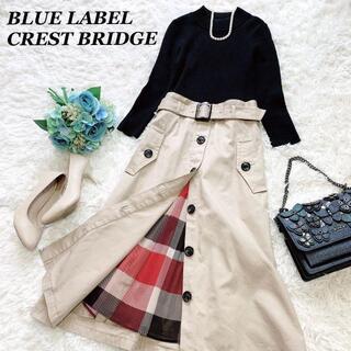 BURBERRY BLUE LABEL - 美品♡ブルーレーベルクレストブリッジ チェック トレンチワンピース 36