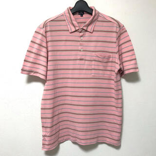 ポールスミス(Paul Smith)の定1.3万 PSポールスミス コットン鹿の子ボーダー半袖ポロシャツXL(ポロシャツ)