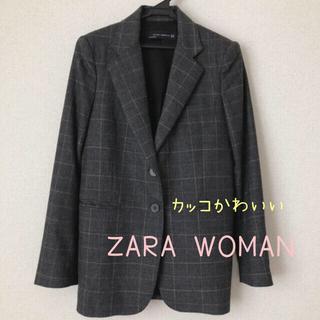 ZARA - ZARA レディーステーラードジャケット チェック チャコールグレー XS