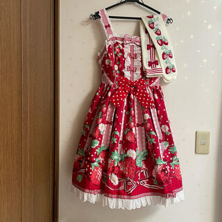 Angelic Pretty - 摘みたていちごジャンパースカート&オーバーニー