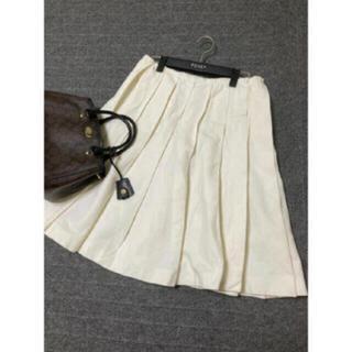 プラダ(PRADA)のPRADA プリーツ スカート ホワイト 白 プラダ(ひざ丈スカート)