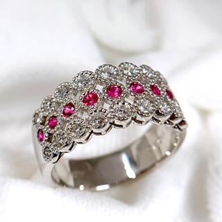 PT900 ルビー 0.32 ダイヤモンド 0.45 リング 指輪