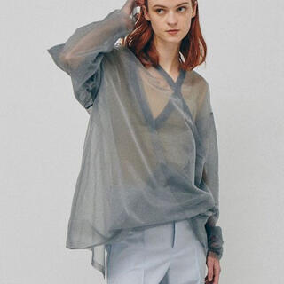 LE CIEL BLEU - IRENE transparent vneck knit 黒