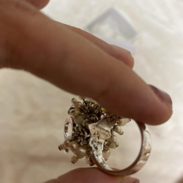 Christian Dior(クリスチャンディオール)のCristian Dior パール大ぶりロゴチャームリング 9号11号 指輪 レディースのアクセサリー(リング(指輪))の商品写真