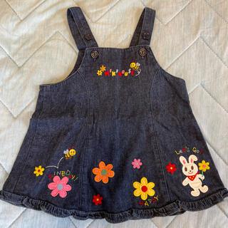 ミキハウス(mikihouse)のミキハウス ジャンパースカート ワンピース デニム ワッペン 80 うさぎ 花(スカート)