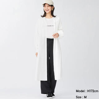 GU - GU 新品 バンドカラー ギャザーワンピース 長袖 S 白