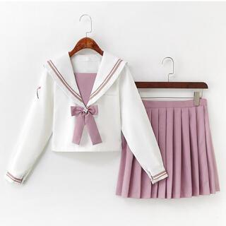 新品・XLサイズ★ピンクのリボンがかわいい長袖セーラー服(制服上下セット)