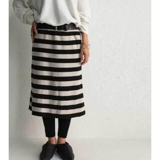 アンティカ(antiqua)のアンティカ ボーダーIラインニットスカート(ひざ丈スカート)