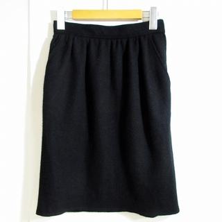 プラダ(PRADA)のプラダ スカート 膝丈 ウール100% タック ブラック 黒 38 0923(ひざ丈スカート)