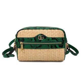Gucci - 美品☆グッチ ストローxパイソン GGショルダーバッグ ベージュ J4493