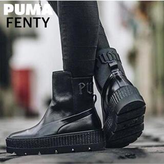 プーマ(PUMA)のプーマ ショート ブーツ ブルー レザー フェンティ 厚底 ロック スリッポン(ブーツ)