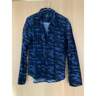 シャツ めいさい 迷彩 ブルー 青