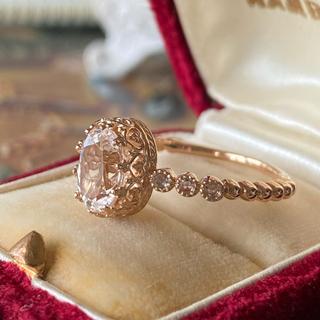 天然ダンビュライト 天然ローズカットダイヤモンド 18金 新品 未使用品(リング(指輪))
