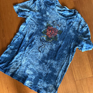 ギャップ(GAP)のgap デニムカラー ダイダイ柄Tシャツ アメリカサイズS(Tシャツ/カットソー(半袖/袖なし))