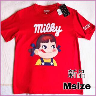 サンリオ(サンリオ)の新品 M ペコちゃん tシャツ  赤 プリント フェイス 面白いtシャツ(Tシャツ(半袖/袖なし))