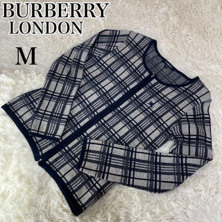 BURBERRY - 【バーバリーロンドン】ジップアップカーディガン ノバチェック M ネイビー