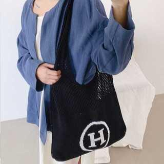 【SNS大人気】ニットショルダーバック★トートバック★韓国ファッション★ブラック