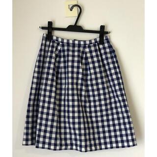 イエナスローブ(IENA SLOBE)の膝丈スカート 青系×白ブロックチェック(ひざ丈スカート)