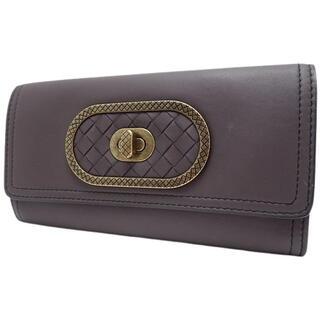 Bottega Veneta - ボッテガヴェネタ ターンロック二つ折り長財布 レザー 紫 40802004345
