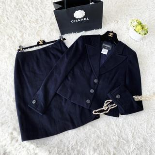 シャネル(CHANEL)の美品 CHANEL シャネル カシミヤ100  スーツ セットアップ  ネイビー(スーツ)