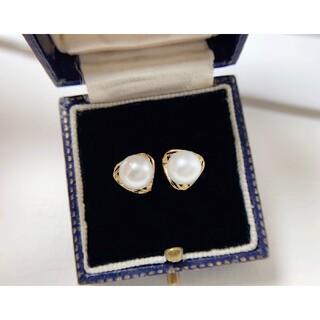 【高級】天然淡水真珠 一粒ピアス6-7mm k18