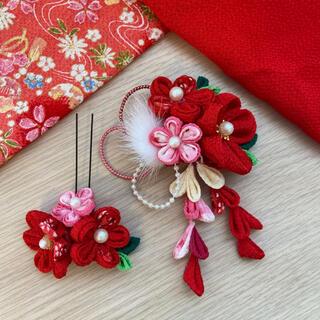 大きい赤いお花の髪飾りセット