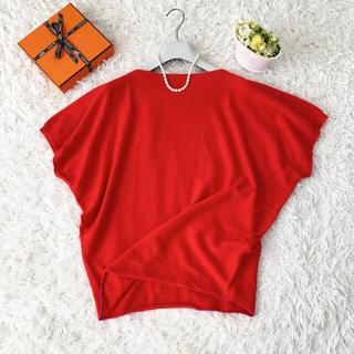 Hermes - 美品 HERMES エルメス カシミヤ100 赤 ポンチョ セーター ベスト