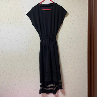 イング(INGNI)のINGNI   イング ロングワンピース 裾レース 黒 ブラック(ロングワンピース/マキシワンピース)