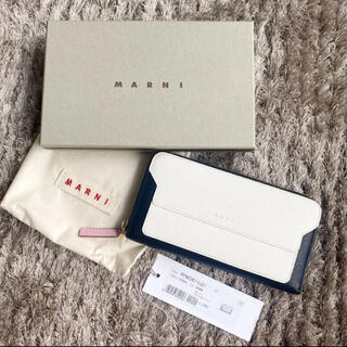 Marni - 超美品 マルニ 長財布 財布 ジップ おしゃれ レザー ホワイト 白 黒