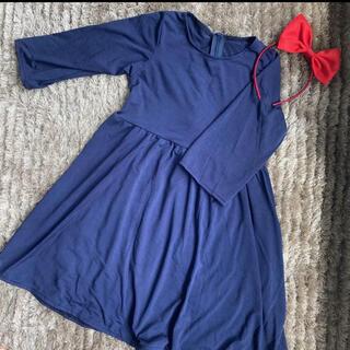 ジブリ - 新品 ネイビー 紺色 ワンピース 110 長袖 魔女の宅急便 キキ ハロウィン